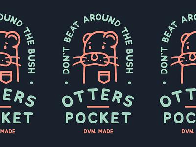 Otters Pocket brand lettering typography pocket otter badgedesign artwork tshirts apparel design branding