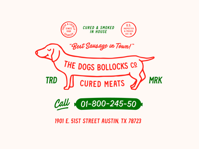 The Dogs Bollocks Co. cured meat sausage meats dogs text lockups logotype lockup branding iconography illustration badge lettering typography