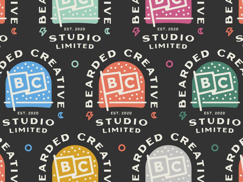 Bearded Creative Studio badges badge illustration logo branding self branding lockup stamp logo flag typography colour lettering badgedesign badges
