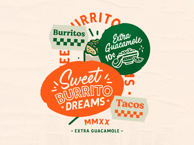 Sweet Burrito Dreams texture iconography mexico guacamole tacos burritos mexican food fastfood illustration lettering typography badgedesign stickers print