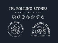 JPs Rolling Stones texture stamp typography lettering logotype iconography illustration lockup branding badge