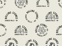 JPs Rolling Stones logotype iconography lockup logo illustration texture branding badge lettering typography