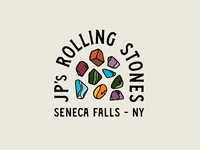JP's Rolling Stones logo logotype iconography lockup badge branding illustration lettering typography