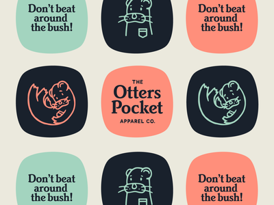 Otters Pocket Apparel Co. apparel brand otter lettering branding badge illustration typography