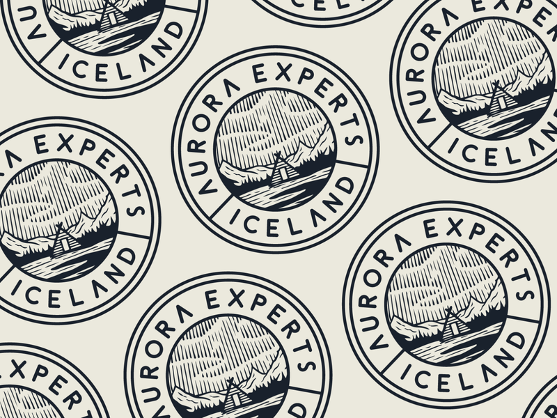 Aurora Experts pattern icelandic iceland illustration typography lockup badge