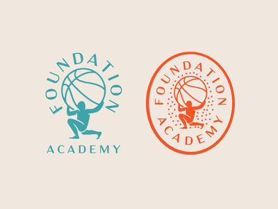 Foundation Academy brand identity basketball logotype lockup stamp illustration branding badge