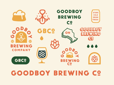 Goodboy Brewing Co. branding iconography stamp illustration branding lettering typography