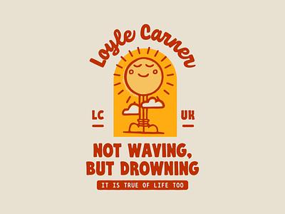 Badge Design Collaboration 2020 drowning waving pattern music badge illustration sun badge design loyle carner