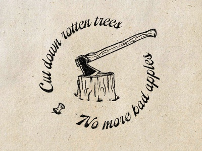No More Bad Apples type trees axe stamp blm bad apples f12 illustration