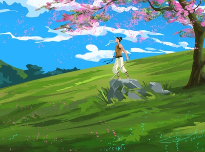 Wind of Samurai gaming air mountains wizard magical fantasy character characterdesign game art digitalart photoshop illustration concept art