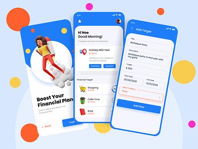 Financial Booster blender3d ui artist blender 3d 3d art branding ui design uiux uimap savings app financial app finance app ui mobile ui app