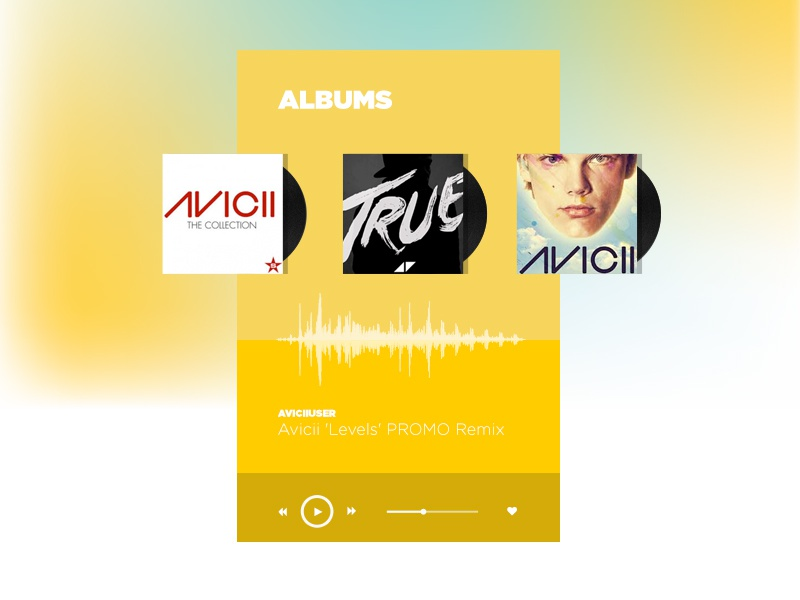 Freebie UI Player dj gradient player ui cd vinyl wave music yellow minimal