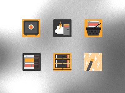 Hosting Business Icons hosting icons secure backups cloud business scan shared hosting orange