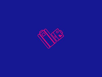 Hotel Logo Proposal hotel bags travel stickers portfolio heart pink blue traveller brand