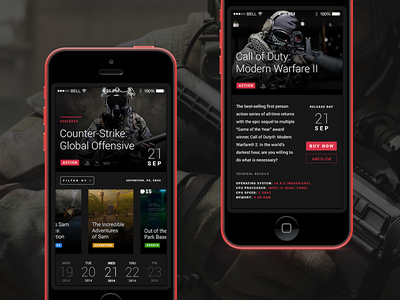 Game Calendar App Concept gamer game dark ui app calendar release concept