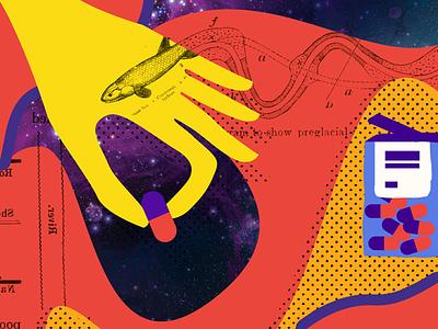 Editorial Illustration science pharmacy pop drugs red yellow pills illustration magazine hand universe