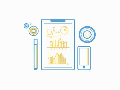 Fintech Desktop fintech donuts iphone minimal tea board doodles finance graphs pen