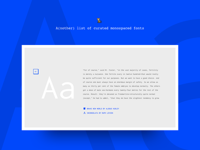 A(nother) curated list of monospaced fonts webfont font fonts code terminal blue console monospaced