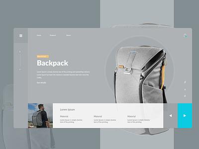 Backpack website interfacedesign uidesing artist flat xd design photoshop website web ui minimal branding design adobe xd