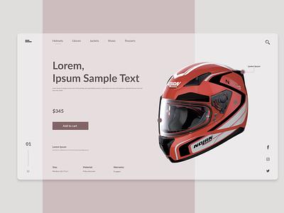 Motorbike helmet motorbike interface uidesign flat xd design photoshop ui website web minimal branding design adobe xd