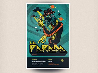 La Parada gig poster for July 2017 tracksuit ufo alien hiphop illustartion photoshop gigposter