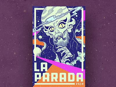 La Parada 2018 texas elpaso space aliens design illustration art flyer gigposter