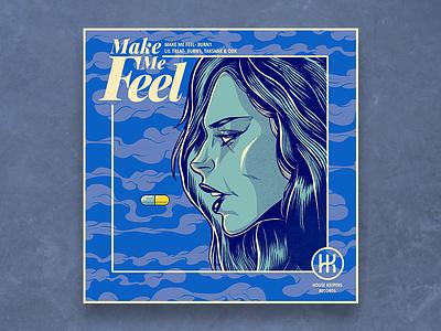 Make Me Feel pen and ink illustration art illustration illustator graphic art graphic  design graphic artist blue pill album artwork album cover design album cover album art album