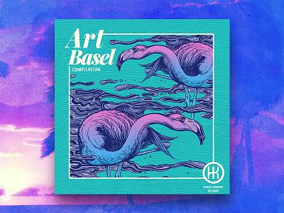 Art Basel Flamingos logodesign photoshop illustation miami album cover design album artwork album cover album art art basel flamingos flamingo