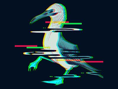 Glitchy Bird pen and ink ledodesign highforge orlando doodle design art illustration photoshop graphic booby bird glitch