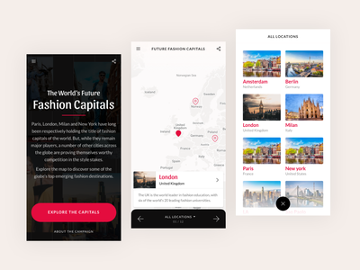 Future fashion capitals city mobile red travel map fashion minimal interface website flat clean web ux ui