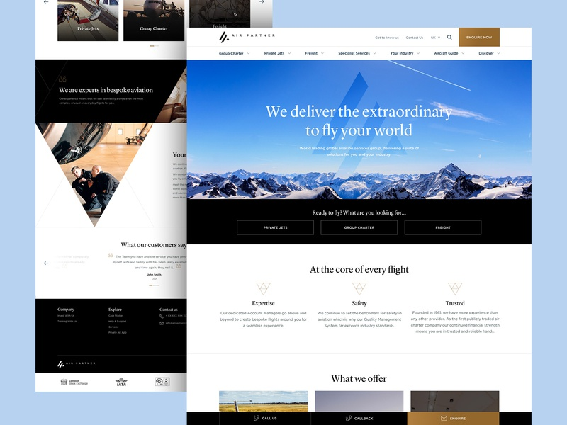 Air Partner gold aircraft flight black minimal flat clean website web ux ui