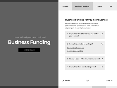 """How to fund a business"" for Hiscox - prototype wireframe prototype animation ux ui splitscreen"