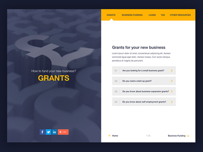 """""""How to fund a business"""" for Hiscox qa guide blue yellow ui splitscreen"""