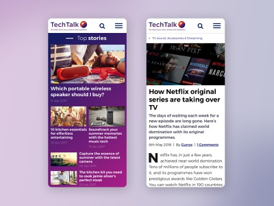 """""""Techtalk"""" blog for Currys PC World flat creative color clean minimal web design technology article page article fold mobile ux ui website red purple white blog news"""
