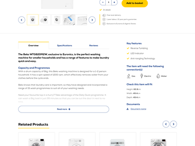 Euronics eCommerce website redesign hero account white goods shop web ux ui simple minimal interface homepage flat website design clean yellow blue products ecommerce
