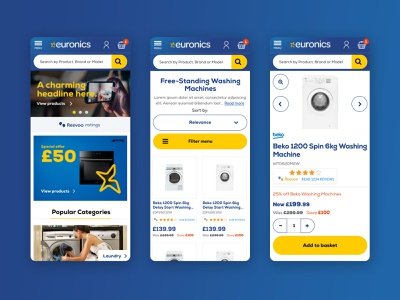 Euronics UK eCommerce website redesign ecommerce products blue yellow clean design website flat homepage interface minimal simple ui ux web shop white goods account