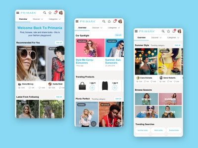 Primania photos clothes share social landing page account shop web ux ui simple minimal interface flat website design clean blue ecommerce redesign