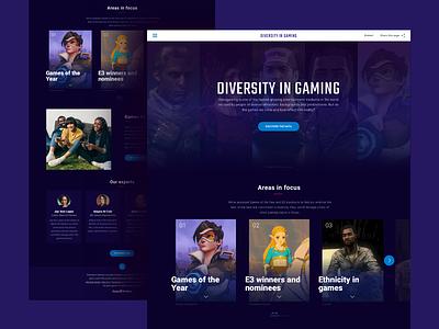 Diversity In Gaming technology landing page games gaming purple digital color creative simple clean web interface design minimal flat website ux ui