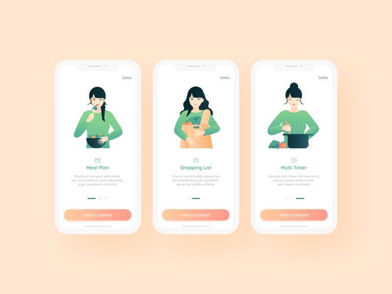 Basilico Onboarding - Recipe App recipe recipe app mobile design pastel colors minimal flat app ux ui illustration character on boarding app design apps