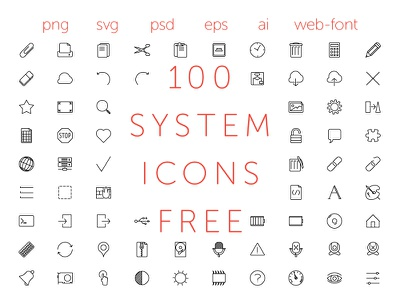 100 free icons outline font vector graphic simple icon free
