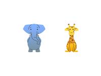 Savannah elephant giraffe illustrator icon cartoon animal