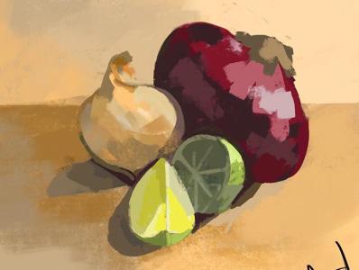 Veggies procreate still life illustration
