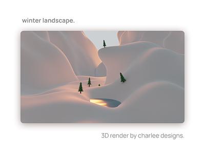 Winter Landscape - 3D render 3d modeling 3d illustration 3d art 3d b3d blender 3d blender3d