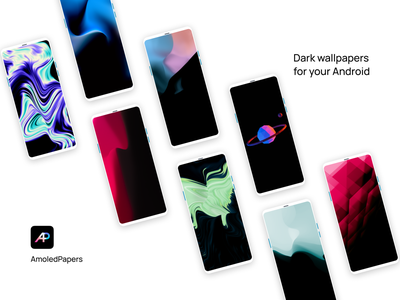 AmoledPapers showcase wallpaper app vector branding illustration home screen android ui design