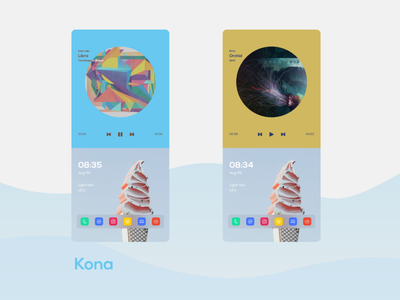 Kona - an Android home screen design flat widgets ux theme ui customization home screen design android