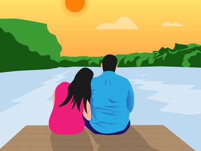 illustration - Couple at the river