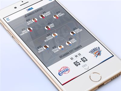 NBA Redesign Part 2 app redesign ui ios iphone6 nba basketball clippers thunder