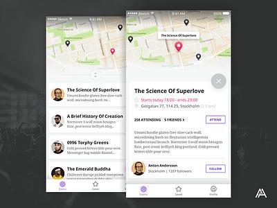 Event App cards map ui app event