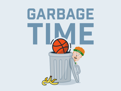 Garbage Time NBA Podcast Cover Art celtics scals basketball garbage can podcast cover nba