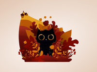 Autumn cat is watching you!
